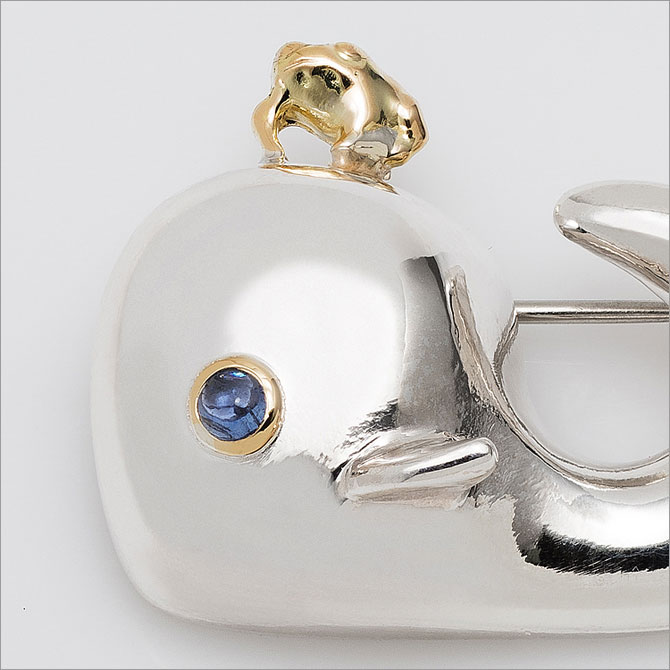 Argentium Silver WHALE & 18K Gold Frog Brooch
